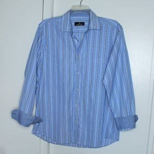 Bugatchi Blue Striped Button Down Shirt L